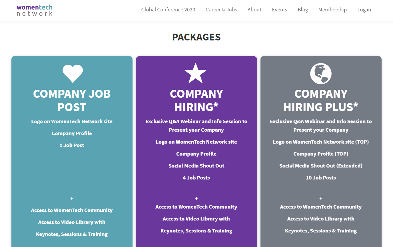 WomenTech Job Board Packages