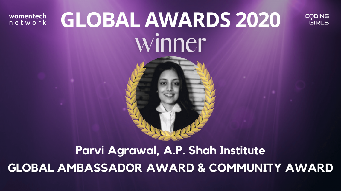 Parvi Agrawal, WomenTech Network Global Ambassador and Community Award 2020