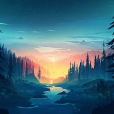 vector-forest-sunset-forest-sunset-forest-wallpaper-thumb.jpg